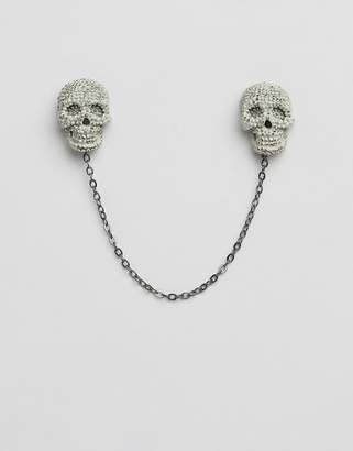 Twisted Tailor skull collar chain in gray