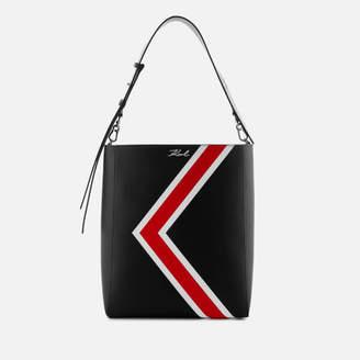 Karl Lagerfeld Women's K/Stripes Hobo Bag - Black