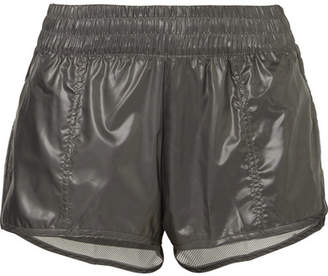 adidas by Stella McCartney Run 2-in-1 Mesh-trimmed Glossed-shell Shorts - Gray