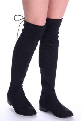 5d23debcd7385 Linzi Merci Black Suede Over the Knee Flat Suede Boots with Tie Up Back