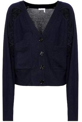 Chloé Lace-panelled wool cardigan