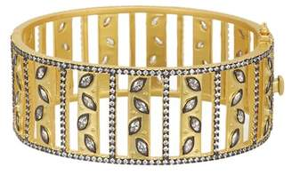 Freida Rothman 14K Gold & Rhodium Plated Fleur Bloom Petal Bangle