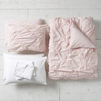 Pottery Barn Teen Organic Ruched Diamond Duvet Bundle, Queen, Powdered Blush