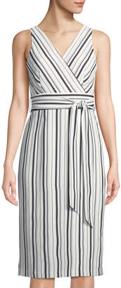 Tahari ASL James Sleeveless Belted Striped Midi Wrap Dress