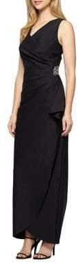 Alex Evenings Mock-Wrap Column Gown