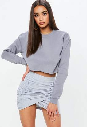 Missguided Carli Bybel x Gray Cropped Hoodie