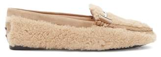 Tod's Gommino T Bar Shearling Loafers - Womens - Light Tan