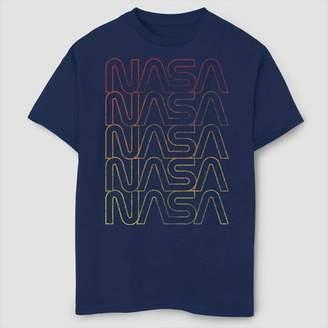 Fifth Sun Boys' NASA Lined Logo Gradient T-Shirt - Navy