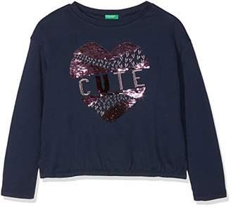 Benetton Girl's Sweater L/s Jumper, (Blue 13c), (Size: EL)