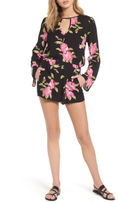 Women's Mimi Chica Floral Bell Sleeve Romper $42 thestylecure.com