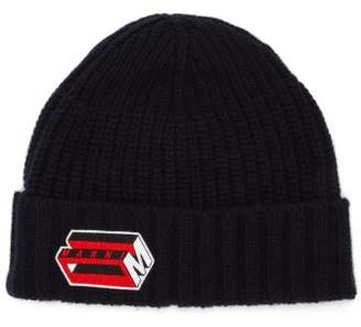 Marni 3d Logo Embroidered Wool Blend Beanie - Mens - Navy