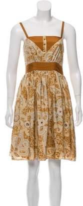 Anna Sui Sleeveless Printed Knee-Length Dress Beige Sleeveless Printed Knee-Length Dress