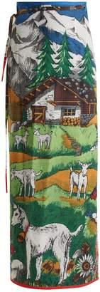 Heidi logo-print maxi wrap skirt
