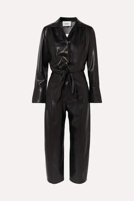 Nanushka Ana Cutout Vegan Leather Jumpsuit - Black