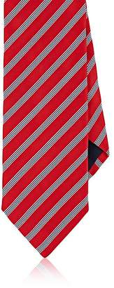 Barneys New York MEN'S STRIPED SILK-COTTON SATIN NECKTIE