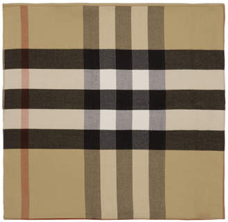 Burberry Reversible Beige Solid Check Charlotte Cape Scarf