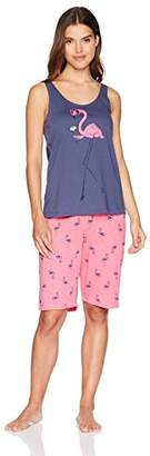 Hue Women's Printed Knit Tank and Bermuda Short 2 Piece Pajama Set