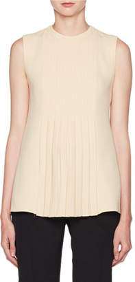 Valentino Crewneck Sleeveless Pleated Cady Blouse