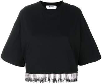 MSGM jewelled fringed T-shirt