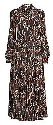 Michael Kors Women's Crushed Dancer Print Silk Shirtdress