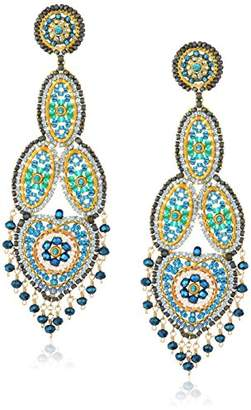 Miguel Ases Large Opaque Contrasted Heart Swarovski Chandelier Drop Earrings