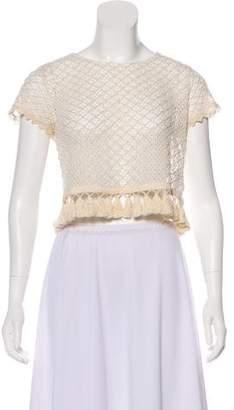 Anine Bing Crocheted Short Sleeve Top