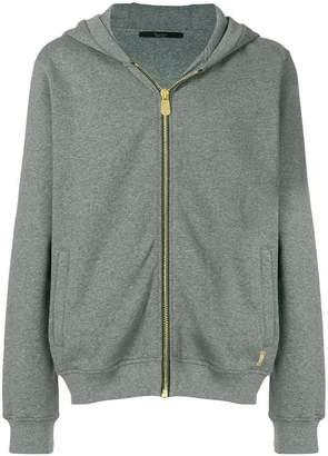 Billionaire zipped rear print hoodie