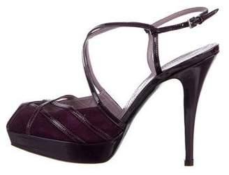 Alberta Ferretti Suede Ankle Strap Sandals