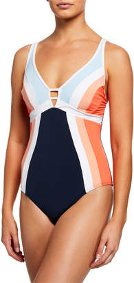 Jets Revolve Plunging Colorblock One-Piece Swimsuit