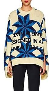 Calvin Klein Women's Logo Star-Pattern Wool Oversized Sweater-Pastel Yellow Steel Blue Royal Blue
