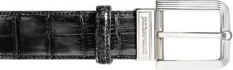 Pakerson Men's Black Alligator Leather Belt w/ Silver Buckle