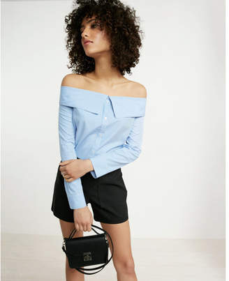 Express Striped Point Collar Off The Shoulder Shirt $59.90 thestylecure.com