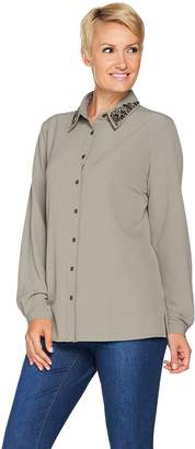 Susan Graver Artisan Stretch Woven Shirt with Embellishment