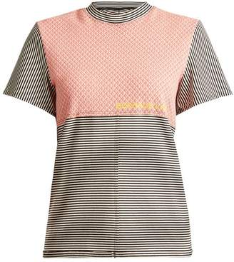 Eckhaus Latta Round Neck Striped Cotton Blend T Shirt - Womens - Multi