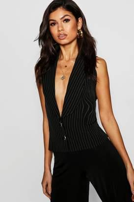 boohoo Pinstripe Button Up Waistcoat