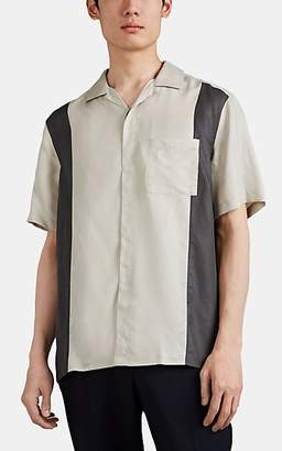 Lanvin Men's Colorblocked Sateen Bowling Shirt - Dark Gray