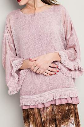 Easel Fringe Double-Layered Sweater
