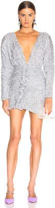 ATTICO Sequined Drape Dress in Silver | FWRD