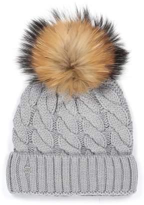 Soia & Kyo Cable Knit Beanie with Genuine Fox Fur Pom
