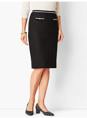Talbots Textured Grosgrain-Trim Pencil Skirt