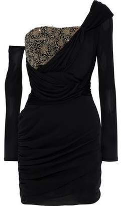 Roberto Cavalli One-Shoulder Bead-Embellished Ruched Silk Mini Dress