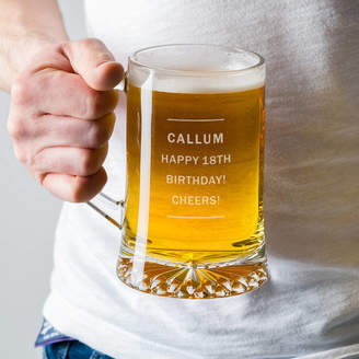 Dust and Things Personalised Pint Glass Beer Tankard For Him