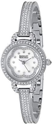 Badgley Mischka Women's BA/1343WMSB Swarovski Crystal-Accented -Tone Bangle Watch