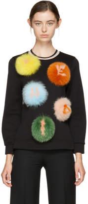 Fendi Black Letters PomPom Sweatshirt