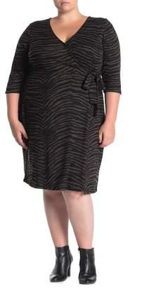 Sanctuary Zebra Stripe Wrap Brushed Knit Dress (Plus Size)