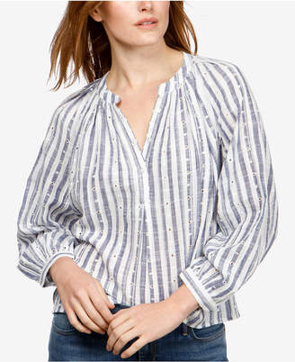 Lucky Brand Cotton Striped Eyelet Poet Blouse
