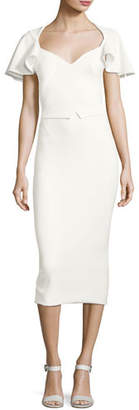 Zac Posen Flutter-Sleeve Cutout-Back Sheath Dress, Ivory