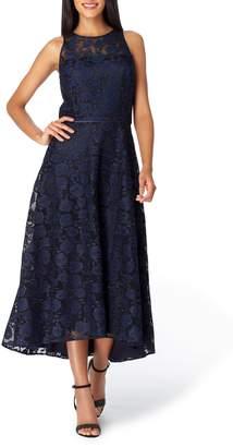 Tahari Floral Embroidery Sleeveless Midi Dress