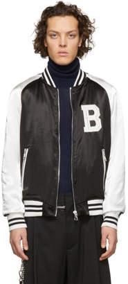 Balmain Black and White Satin Bomber Jacket
