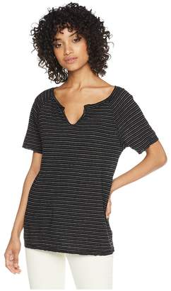 Michael Stars Linen Stripe Short Sleeve Split Neck Tee Women's T Shirt